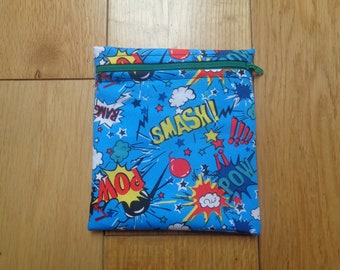 Sandwich Baggie Waterproof Lined Zip Pouch - Straw Case - Sandwich bag - Snack Bag - Bikini Bag - Lunch Bag Make Up Bag Smash Hero Pow ZG