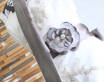 Sample Bridal sash taupe with matching tie, taupe gray, wedding sash, wedding tie, grooms tie, wedding accessory