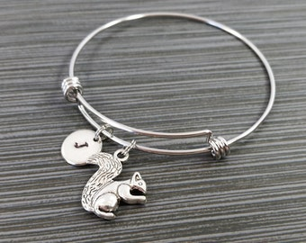 Squirrel Bangle - Squirrel Charm Bracelet - Expandable Bangle - Charm Bangle - Squirrel Bracelet - Initial Bracelet - Woodland Bracelet