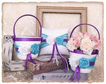 Flower Girl Basket and Ring Bearer Pillow set, Wedding Basket and Pillow Set, Turquoise and Grape Purple Wedding Accessories