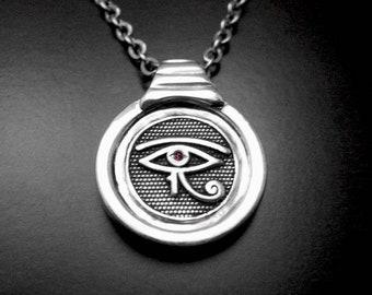 Man silver necklace,eye of Horus pendant,man necklace,man pendant,Egyptian pendant,eye of horus,sautoir argent,collier homme,horus necklace