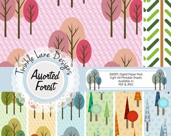 Forest Digital Paper, Woodland Clipart, Digital Forest, Autumn Digital Paper, Digital Paper Pack, 8 A4 Pages, Papercrafting, Prints, Trees