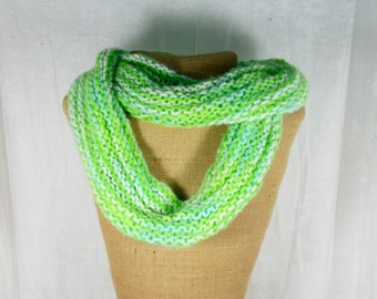 Hand knit scarf, women's green scarf, cowl knit scarf, green infinity scarf, women's knit scarf, knit green cowl, knit eternity scarf
