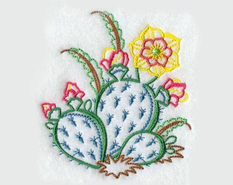 Prickly Pear Cactus Tea Towel | Embroidered Kitchen Towel | Embroidered Towel |