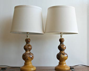 Pair of Mid Century Ceramic Accent Lamps, Drip Glaze Small Table Lamps, Brown and Gold Curvy Lamps