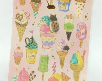 Ice Cream Dessert Gold Deco Sticker (1 Sheet)