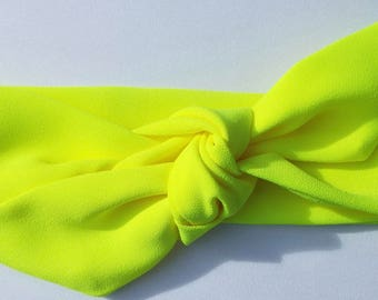 Neon yellow adult head band hair wrap scarf bandana headwrap