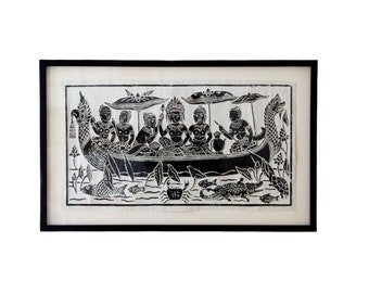 Woodblock Print from Thailand - Framed