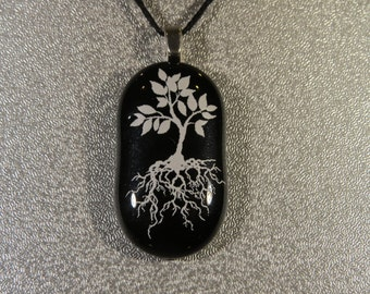 0141 - White and Black Tree of Life Fused Glass Pendant