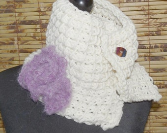 Knitted Scarflette Cowl  CREAMY