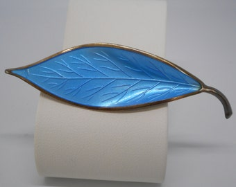 Antique Victorian Pin Brooch Blue Enamel Leaf from Norway