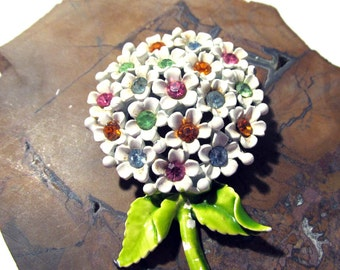 Enamel Flower Brooch VINTAGE Enamel Rhinestone Flower Spray Pin Brooch Enamel Rhinestone Ready to Wear Vintage Flower Wedding Jewelry (F22)