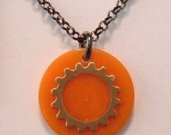 Bakelite Gear Necklace