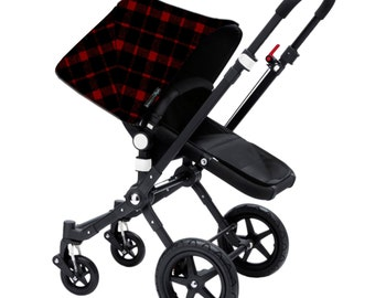 "Bugaboo Cameleon, Bee, Donkey, Frog Custom canopy hood cover ""Black and red plaid tartan wool"" by Stroll N Style"