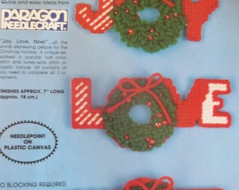 Christmas Plastic Canvas Needlepoint Ornament Kit - Set of 3