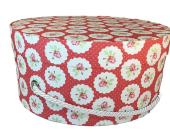 Hat Box in Red and White Floral, Ready to ship! Round Box, French Cottage Decor, Fabric Covered Box, Box w Lid, Keepsake Box, Decorative Box