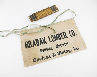 Vintage Carpenter's Apron From 'Hrabak Lumber Co.' With a 'Lufkin Red End' Wood Folding Ruler - Great Gift - Change Apron - Working
