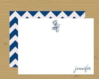 Monaco Blue Linen Stationery