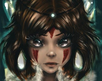 Princess Mononoke Wolf Girl San Art Print