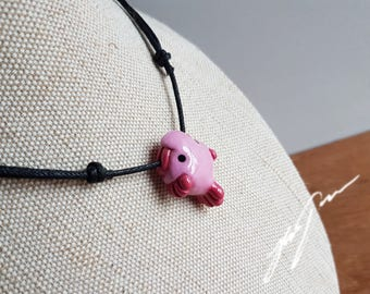 RESERVED - Blobfish Necklace Pendant, cute, sculpted polymer clay.