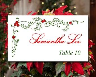 "DIY Wedding Place Card Template - Printable Escort Card Template ""Festive Holly"" Christmas Wedding Reception Seating - Holiday Table Card"