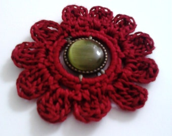 Red Crochet Flower Brooch Handmade Pins Accessories Gifts for Her