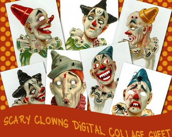 Scary Clowns Collage Sheet