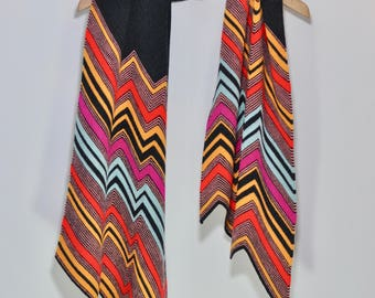 David Bowie 'Ashes To Ashes' Guitar riff - Knitted merino wool chevron pattern scarf