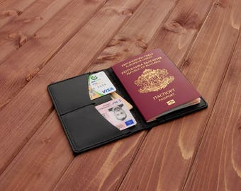 Personalized leather wallet passport holder travel wallet for men mens wallet men