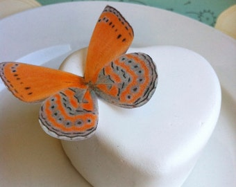 Wedding Cake Topper EDIBLE Butterfly Cake Decoration - Bright Orange - Cake & Cupcake Toppers
