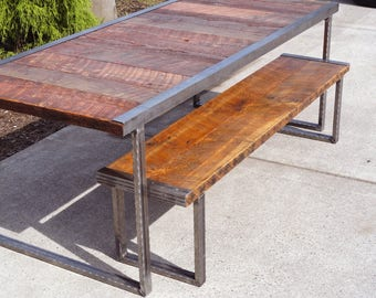 Industrial bench with rectangular steel legs and raw steel trim
