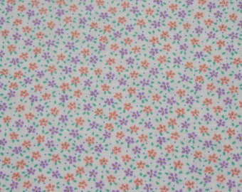 Vintage Tiny Print Purple Peach Floral Cotton Fabric, Small Print Flower Doll Dress Quilting Sewing Fabric, 3/4 yard