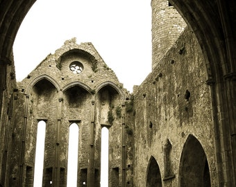 Rock of Cashel- Ireland, Ireland Photography, Travel Photography, Ruins, Stone Building, Wall Art, Medieval Architecture