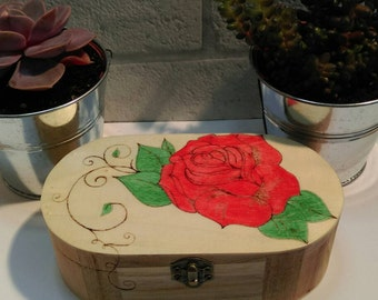 Reiki charged, wooden jewellery, trinket, stash box, pyrography, wood burning and painted design.