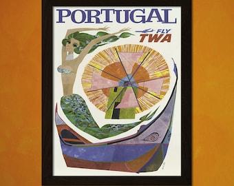 Portugal Travel Print - Travel Poster Portugal Print Travel Portugal Poster Twa Poster   Reproductiont