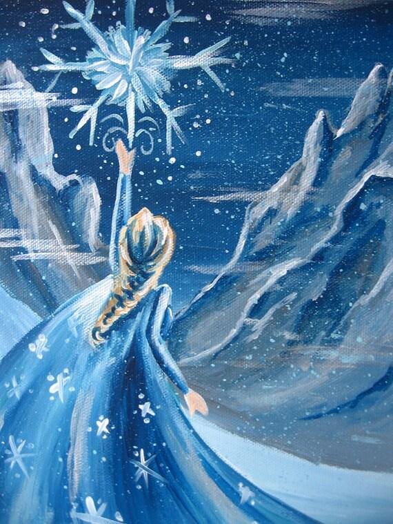 SALE Frozen Queen Elsa Disney Princess Art Work Painting On