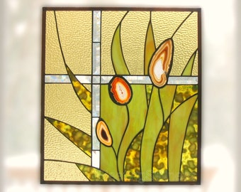 CUSTOM Nature Stained Glass Panel Yellow Green Modern Agate Grass Flower Stained Glass Window Panel Handmade OOAK - Wild Grass
