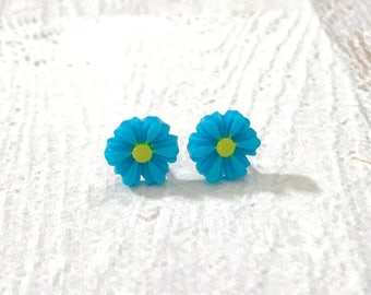 Little Bright Blue Gerbera Daisy Stud Earrings, Surgical Steel, Small Carved Spring Easter Daisies for Flower Girls and Weddings (SE18)
