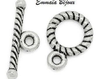10 clasps metal Toggle silver 9 x 11 mm