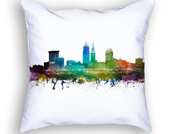 Cleveland Pillow, 18x18, Cleveland Skyline, Cleveland Cushion, Cleveland Pillow, Throw Pillow, Home Decor, Gift Idea, USOHCL01PI