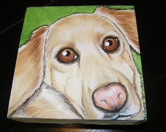 CUSTOM Pet Portrait Painting 6x6, Pet memorial, Christmas gift, animal lover, personalized