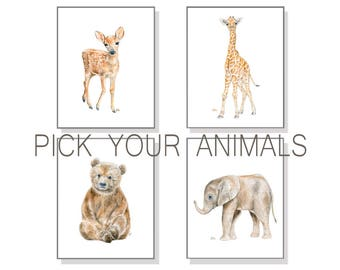Nursery Wall Art Nursery Decor Nursery Prints Nursery Art Baby Animal Prints Watercolor Painting Elephant Giraffe Bear Deer Set Of 4 Prints
