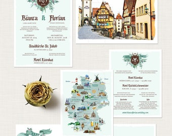 Germany Destination wedding invitation Rothenburgh German Wedding Suite - European bilingual Illustrated invitation Deposit Payment