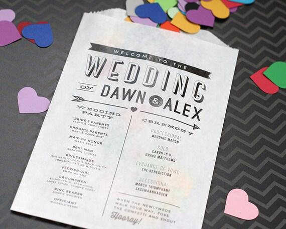 Modern Wedding Program Confetti or Flower Toss Bag Printed
