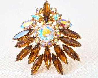 Vintage Amber Rhinestone Brooch Large Aurora Borealis Crystal Brooch