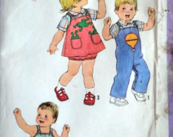 Sewing Pattern, Vintage 70's Simplicity 8950 Toddlers Overalls, Jumper, Panties, Shirt & Applique Size 1, 20 Breast, Uncut, 1970's Boy Girl