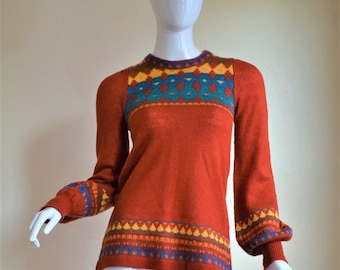 1970s Arpeja Sweater Tunic Perfection with Adorable Puffed Sleeves Small/XSmall