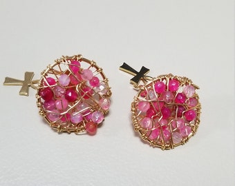 Pink agate earrings gold plated in 24 k gold