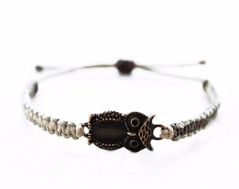 Bronze Owl Hemp Bracelet - Hemp Jewelry