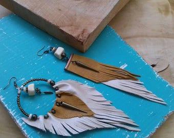 Asymmetrical earrings, Tribal earrings, mismatched earrings, aztec earrings, leather earrings,        ethnic earrings, boho earrings, gift